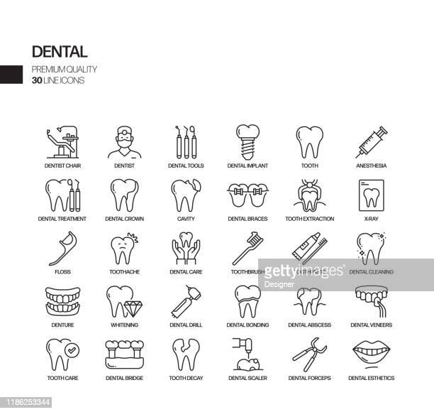 simple set of dental related vector line icons. outline symbol collection - dental stock illustrations