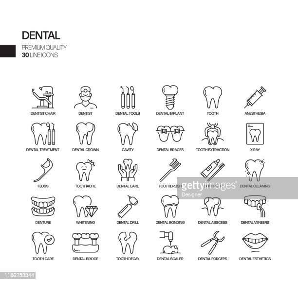ilustraciones, imágenes clip art, dibujos animados e iconos de stock de conjunto simple de iconos de línea vectorial relacionadacon dentales. colección de símbolos de esquema - dolor de muelas