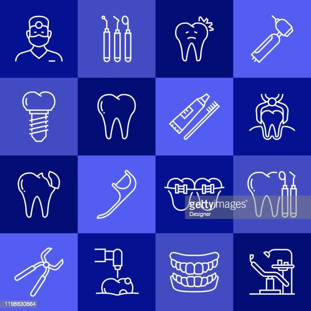 simple set of dental related vector line icons. outline symbol collection - mouthwash stock illustrations