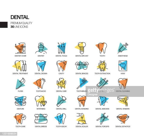 simple set of dental related vector spotlight line icons. outline symbol collection - mouthwash stock illustrations