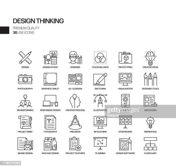 illustrazioni stock, clip art, cartoni animati e icone di tendenza di simple set of design thinking related vector line icons. outline symbol collection - design