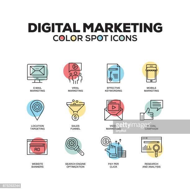 illustrations, cliparts, dessins animés et icônes de simple jeu d'icônes de marketing numérique couleur vecteur ligne - marketing numérique