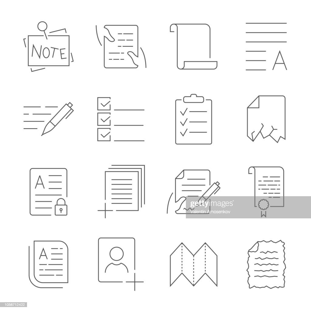 Simple Set of Document Flow Management Vector Line Icons. Contains such Icons as Crumpled Spoiled document, Scroll, Accept, Decline Document and more. Editable Stroke