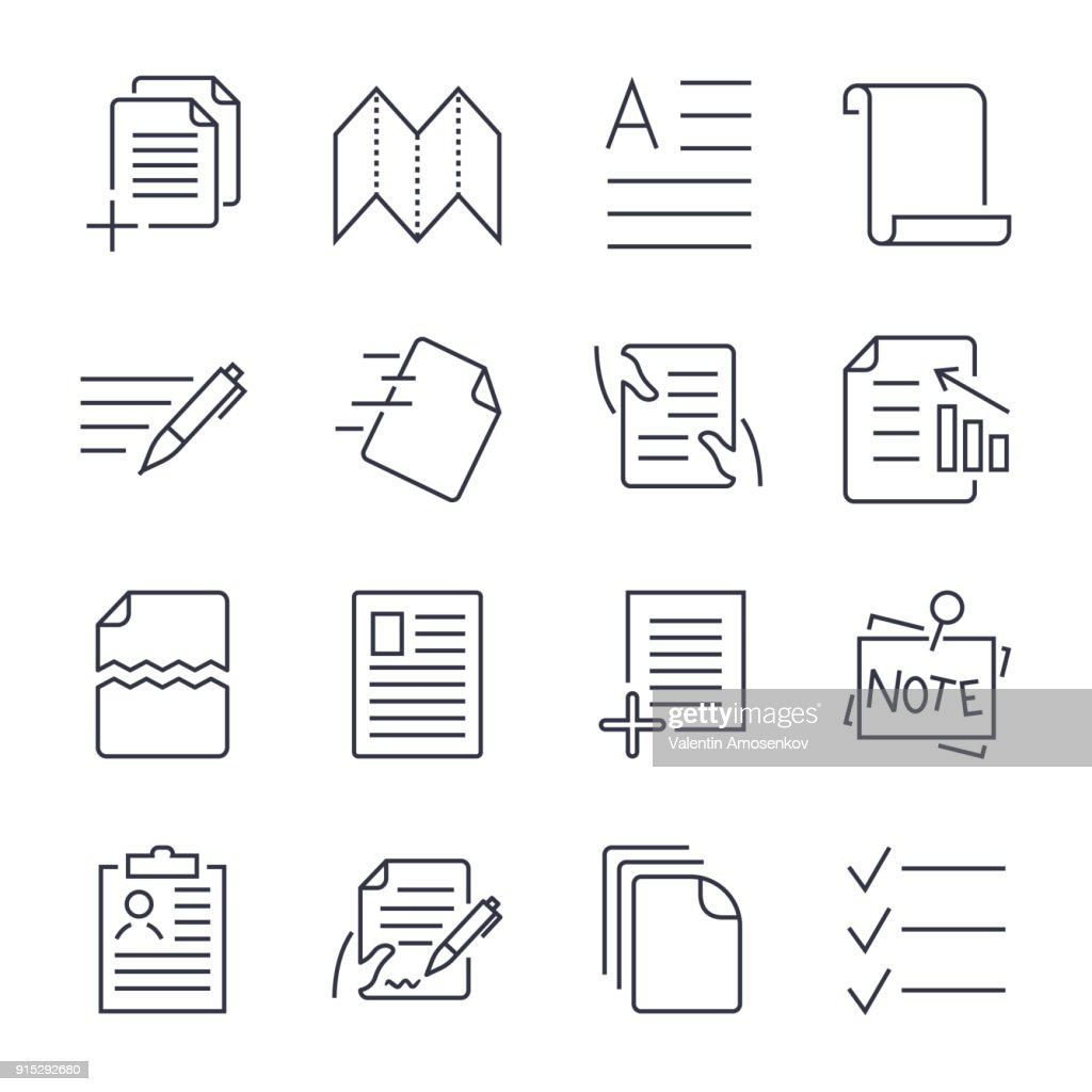 Simple Set of Document Icons. Contains such Icons as Batch Processing, Legal Documents, Clipboard, Download, Document Flow and more. Editable Stroke