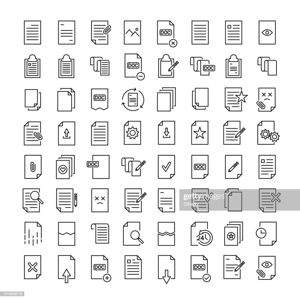 Simple set of document related outline icons.