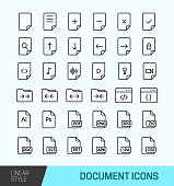 Simple Set of Document Related Vector Line Icons