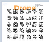 Simple Set of Drone Technology .Vector Icons. Editable Stroke. 48x48 Pixel Perfect