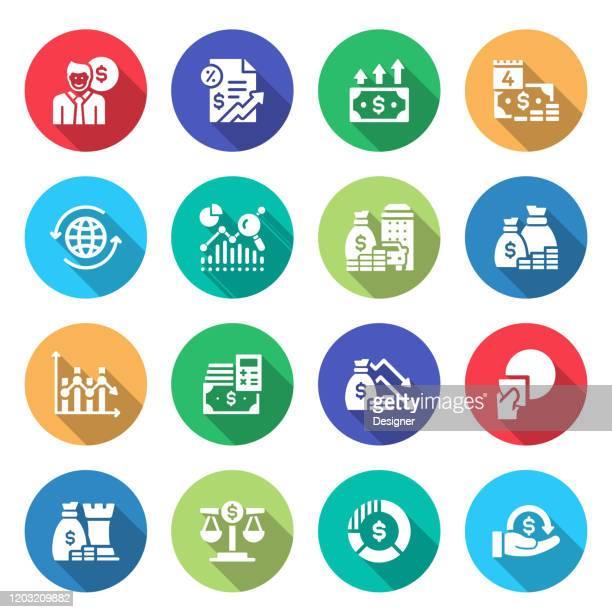 経済と金融関連ベクトルフラットアイコンのシンプルなセット。シンボルコレクション - 為替相場点のイラスト素材/クリップアート素材/マンガ素材/アイコン素材