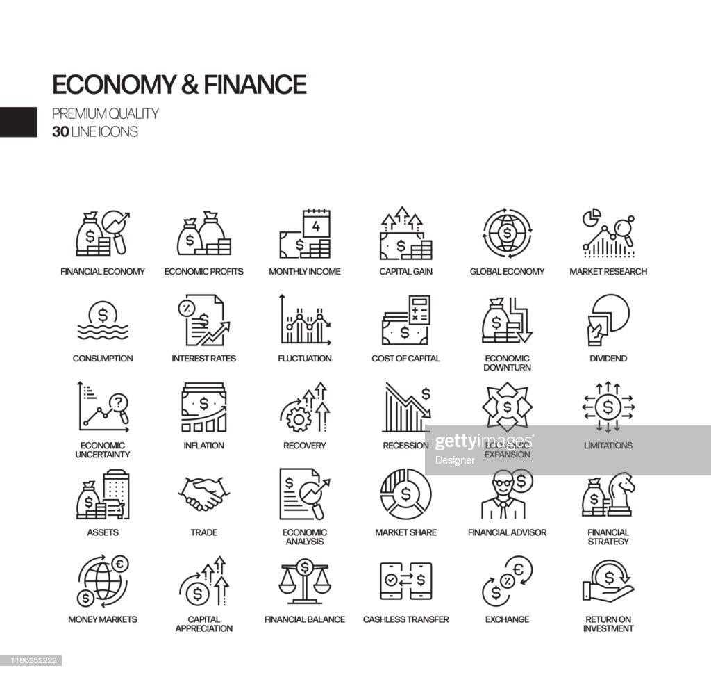 経済と金融関連のベクトルラインアイコンのシンプルなセット。アウトライン記号コレクション : ストックイラストレーション