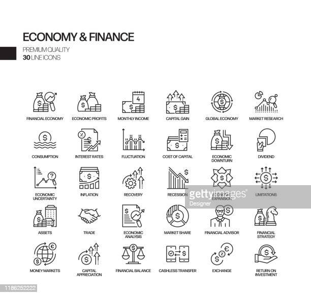 simple set of economy and finance related vector line icons. outline symbol collection - risk stock illustrations