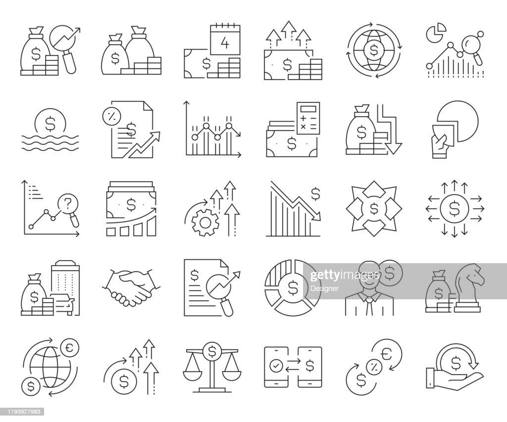経済と金融関連のベクトルラインアイコンのシンプルなセット。アウトライン記号コレクション。編集可能なストローク : ストックイラストレーション