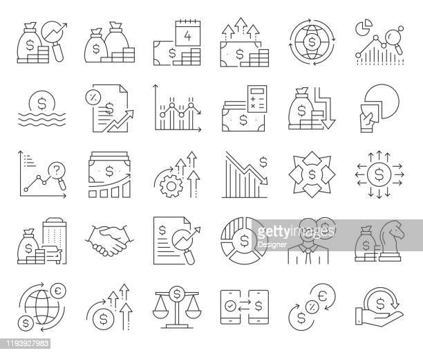 simple set of economy and finance related vector line icons. outline symbol collection. editable stroke - price stock illustrations