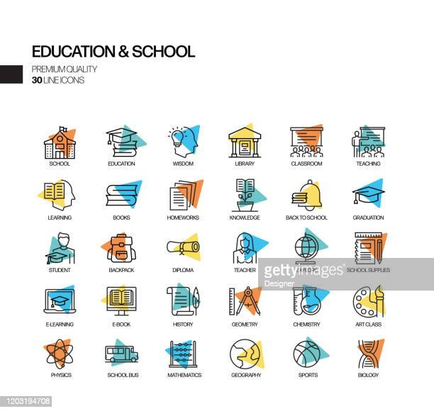 simple set of education and school related spotlight vector line icons. outline symbol collection. - elementary school stock illustrations