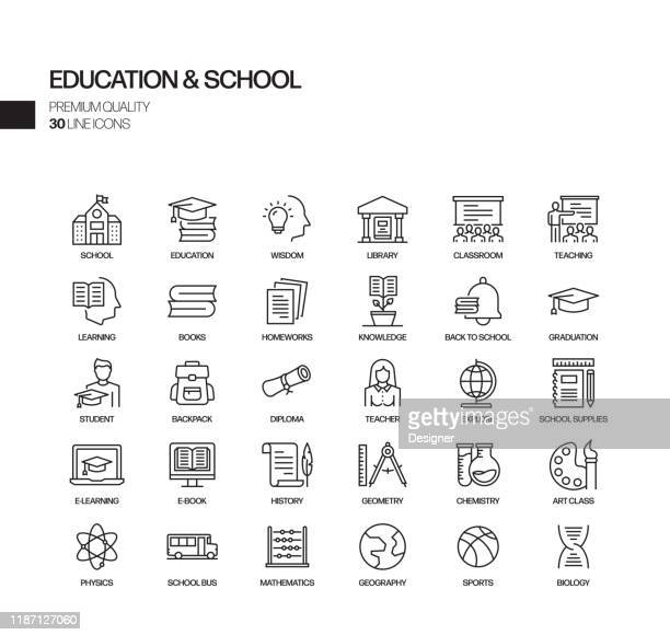 simple set of education and school related vector line icons. outline symbol collection. - childhood stock illustrations