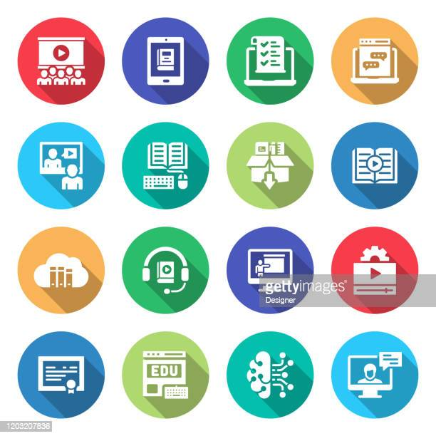 simple set of e-learning related vector flat icons. symbol collection - workshop stock illustrations