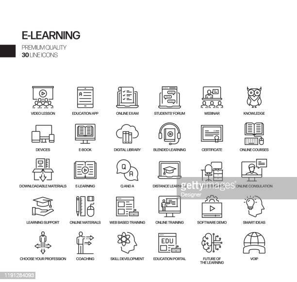 simple set of e-learning related vector line icons. outline symbol collection - on the move stock illustrations