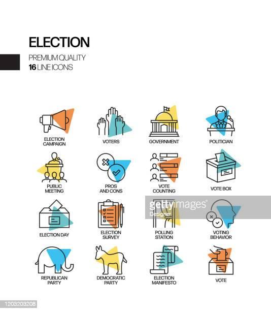 選挙関連スポットライトベクトル線アイコンの簡単なセット。アウトラインシンボルコレクション - 選挙点のイラスト素材/クリップアート素材/マンガ素材/アイコン素材