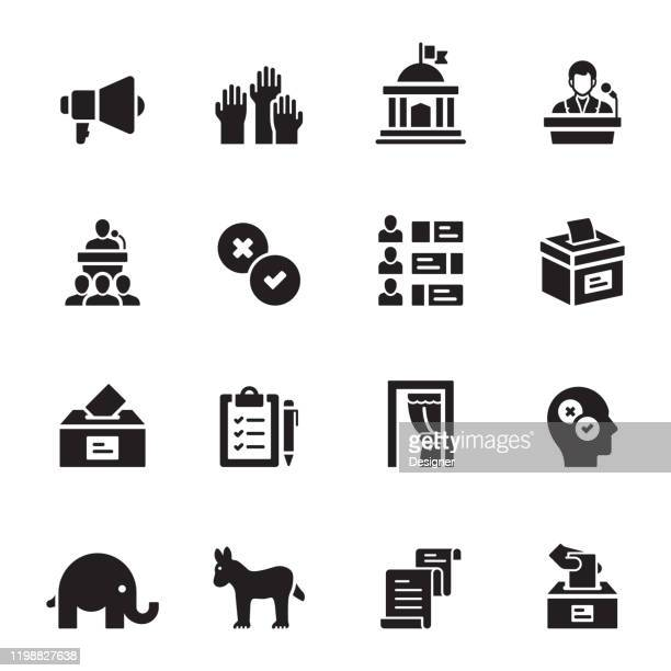 simple set of election related vector icons. symbol collection - politics and government stock illustrations