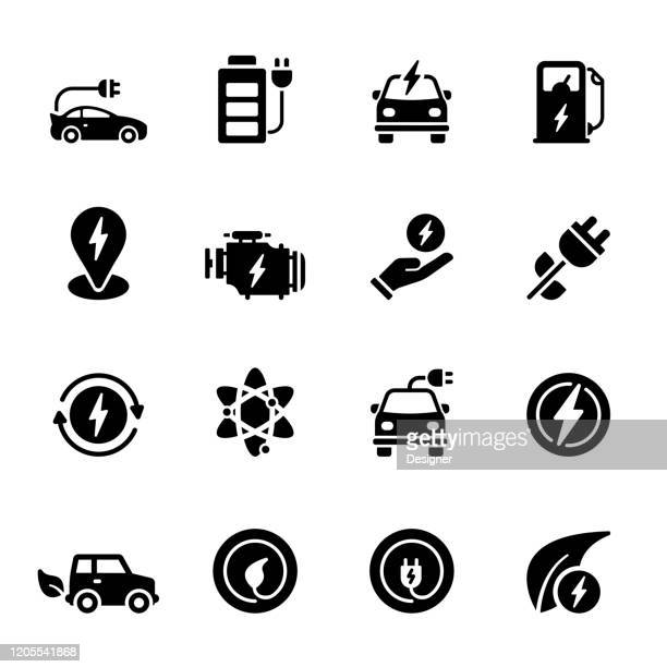 simple set of electric car related vector icons. symbol collection - hybrid vehicle stock illustrations