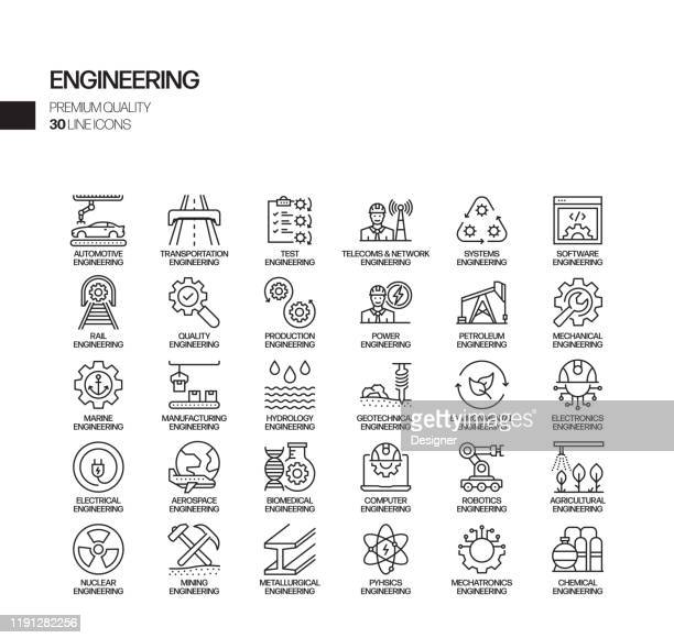stockillustraties, clipart, cartoons en iconen met eenvoudige set van engineering gerelateerde vector lijn iconen. outline symbol-collectie - contraptie