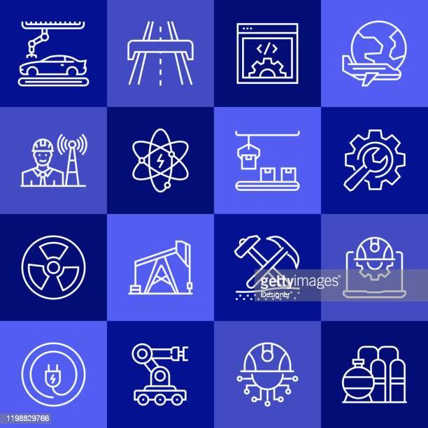 einfache satz von engineering verwandte vektor linie icons. umrisssymbol-auflistung - rechnerunterstütztes konstruieren stock-grafiken, -clipart, -cartoons und -symbole