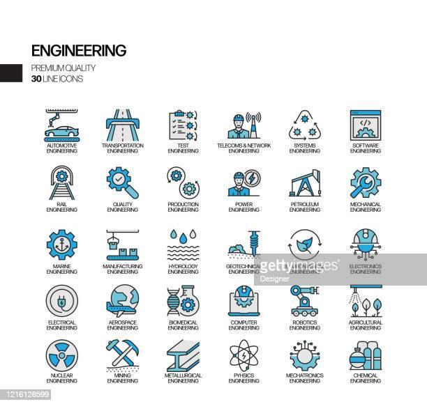 ilustrações, clipart, desenhos animados e ícones de conjunto simples de ícones de linha vetorial relacionados à engenharia. coleção de símbolos de contorno - fábrica petroquímica