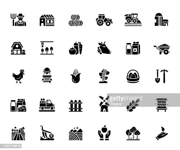 simple set of farming and agriculture related vector icons. symbol collection - irrigation equipment stock illustrations