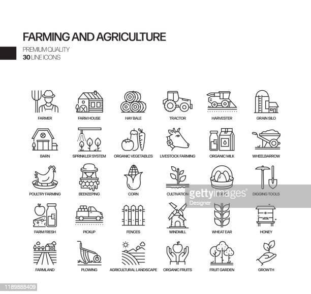 einfache satz von landwirtschaft und landwirtschaft verwandte vektor linie icons. umrisssymbol-auflistung - feld stock-grafiken, -clipart, -cartoons und -symbole