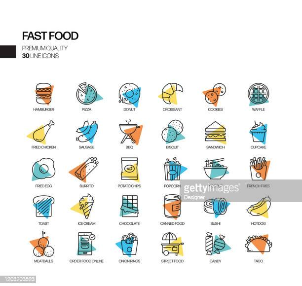 simple set of fast food related spotlight vector line icons. outline symbol collection. - obesity icon stock illustrations