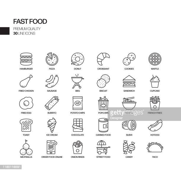 simple set of fast food related vector line icons. outline symbol collection. - unhealthy eating stock illustrations