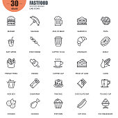 Simple set of fastfood related vector line icons