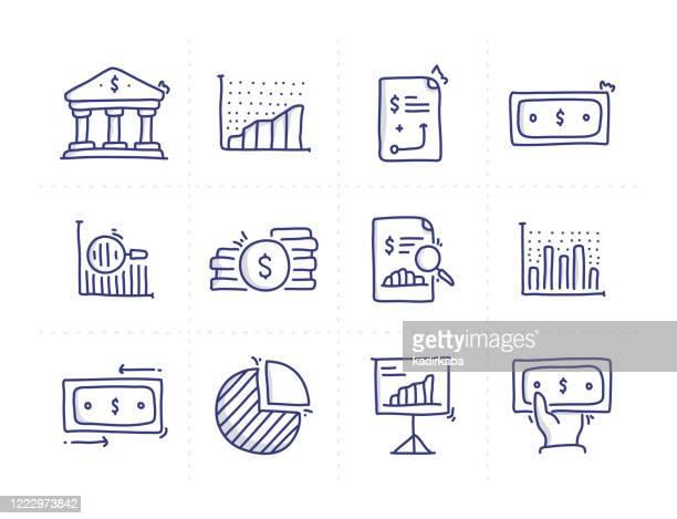 illustrazioni stock, clip art, cartoni animati e icone di tendenza di icone della linea vettoriale doodle correlate alla finanza semplice - rapporto finanziario