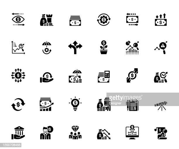 illustrazioni stock, clip art, cartoni animati e icone di tendenza di semplice set di icone vettoriali correlate alla finanza. collezione symbol - contabilità