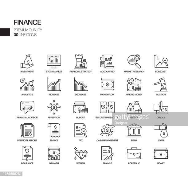 simple set of finance related vector line icons. outline symbol collection - recession stock illustrations