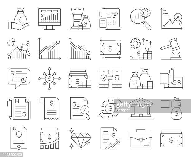 simple set of finance related vector line icons. outline symbol collection. editable stroke - cryptocurrency stock illustrations