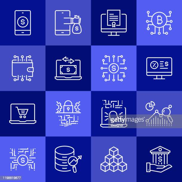 simple set of fintech related vector line icons. outline symbol collection - financial technology stock illustrations