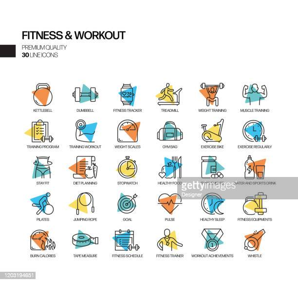simple set of fitness and workout related spotlight vector line icons. outline symbol collection - leisure facilities stock illustrations