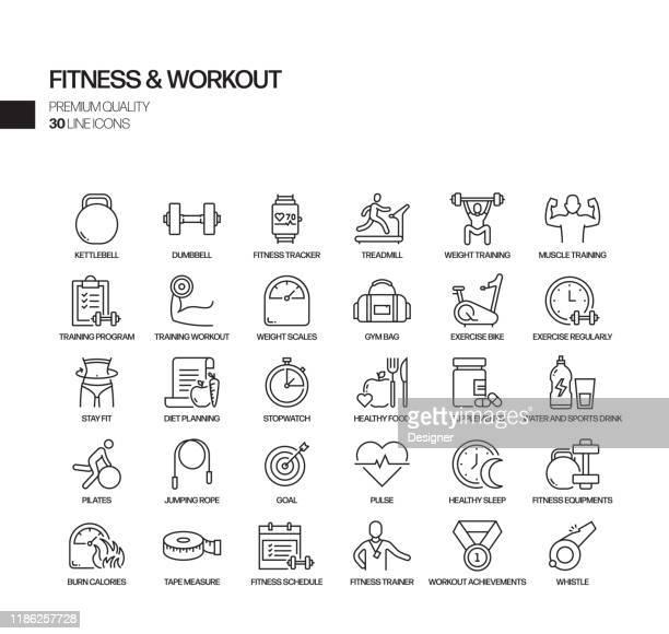 ilustraciones, imágenes clip art, dibujos animados e iconos de stock de conjunto simple de iconos de línea vectorial relacionados con el fitness y el entrenamiento. colección de símbolos de esquema - estilo de vida saludable
