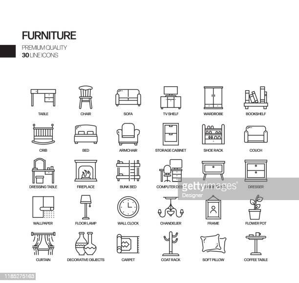 simple set of furniture related vector line icons. outline symbol collection. - interior designer stock illustrations