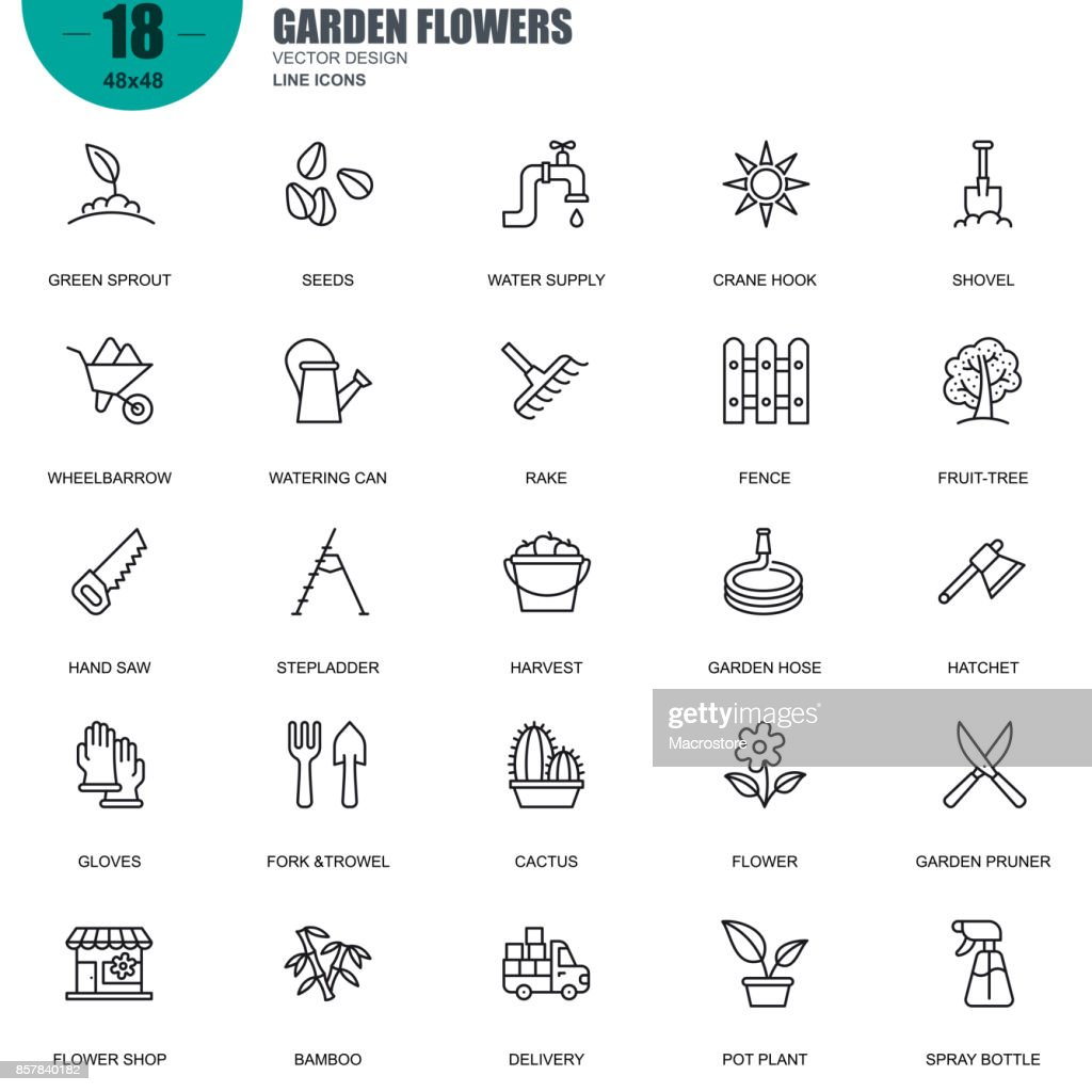 Simple set of garden flowers related vector line icons