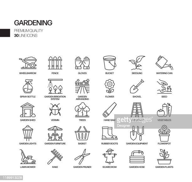 simple set of gardening related vector line icons. outline symbol collection - irrigation equipment stock illustrations
