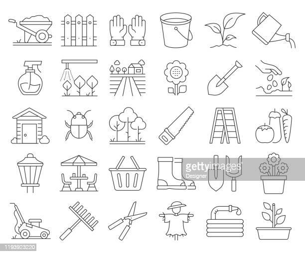 simple set of gardening related vector line icons. outline symbol collection. editable stroke - sprinkler stock illustrations