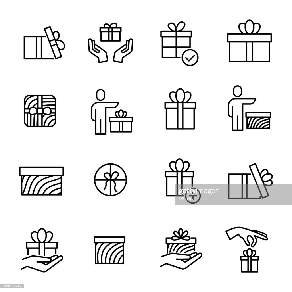 Simple set of gift related outline icons