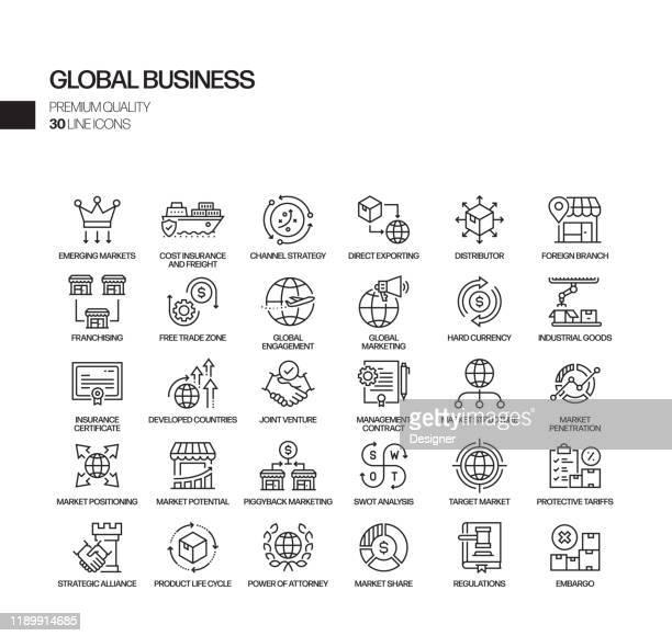 ilustraciones, imágenes clip art, dibujos animados e iconos de stock de conjunto simple de iconos de línea vectorial relacionados con el negocio global. colección de símbolos de esquema - headquarters