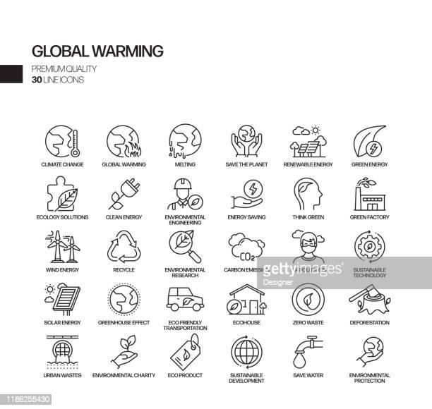 ilustrações de stock, clip art, desenhos animados e ícones de simple set of global warming related vector line icons. outline symbol collection - desmatamento