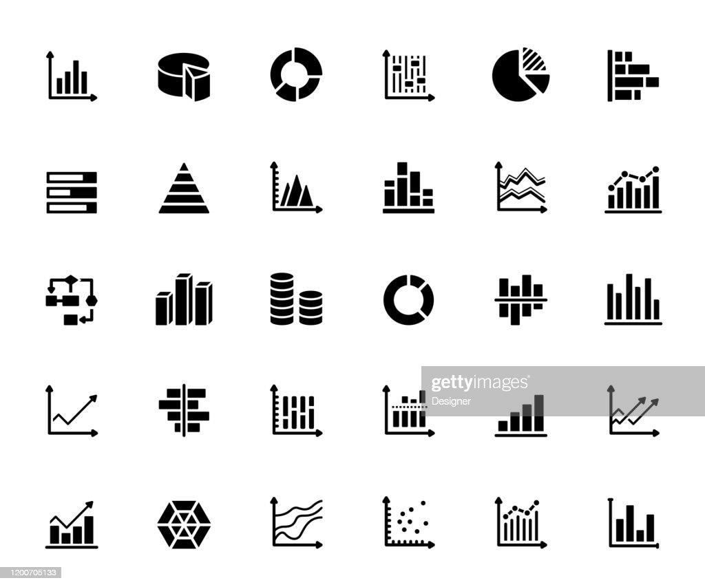 Conjunto simple de gráficos y gráficos iconos vectoriales relacionados. Colección de símbolos : Ilustración de stock