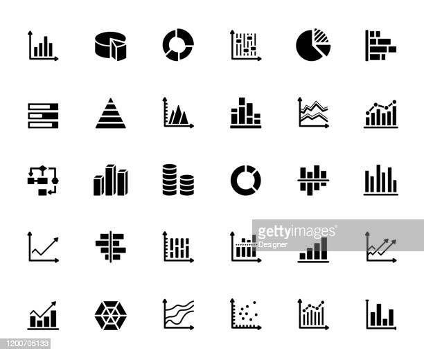 simple set of graphs and charts related vector icons. symbol collection - graph stock illustrations
