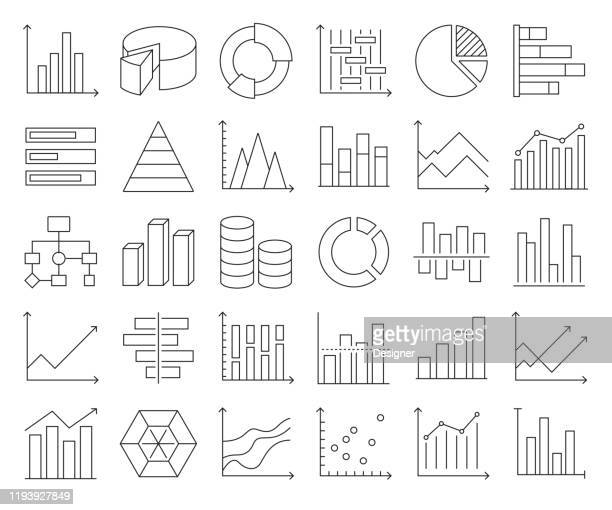 illustrations, cliparts, dessins animés et icônes de ensemble simple de graphiques et de graphiques liés aux icônes de la ligne vectorielle. collection de symboles de contour. accident vasculaire cérébral modifiable - diaporama