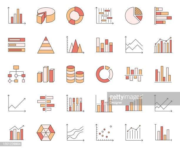 einfache reihe von graphen und diagramme verwandte vektorlinie icons. umrisssymbol-auflistung - tabellenkalkulation stock-grafiken, -clipart, -cartoons und -symbole