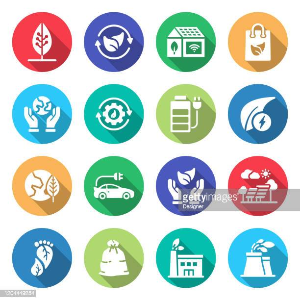 simple set of green energy related vector icons. symbol collection - reusable bag stock illustrations
